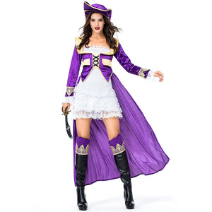 Women Purple Sexy Pirate Cosplay Costume Halloween/Stage Performance/Party