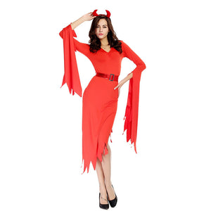 Women Red Sexy Demon Cosplay Costume Dress For Halloween Party Performance