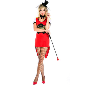 Women Red Sexy Tailcoat Magician Cosplay Costume Dress