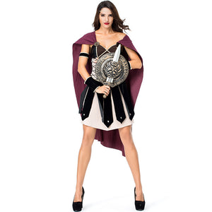 Women Roman Warrior Gladiator Warrior 300 Cosplay Costume For Halloween Party Performance