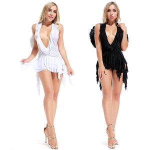 Women Sexy Angel Cosplay Costume Dress For Halloween Party Performance