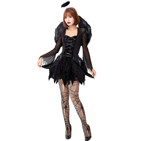 Women Sexy Black Angel Cosplay Costume Dress For Halloween Party Performance
