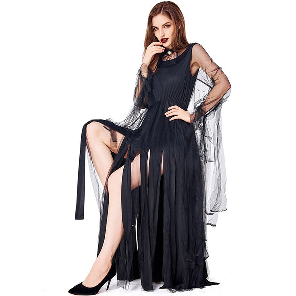 Women Sexy Black Demon Cosplay Costume Dress For Halloween Party Performance