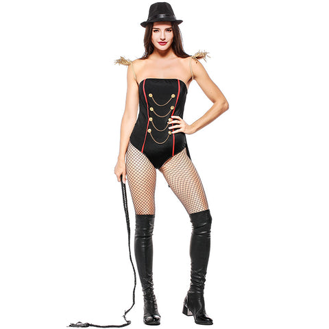 Women Sexy Black Magician Cosplay Costume Short Jumpsuit