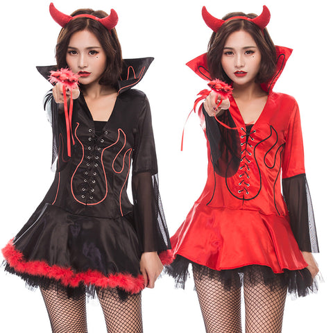 Women Sexy Demon Red Cosplay Costume Dress For Halloween Party Performance