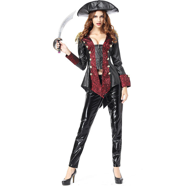 Women Sexy Leather Pirate Captain Cosplay Costume Halloween/Stage Performance/Party