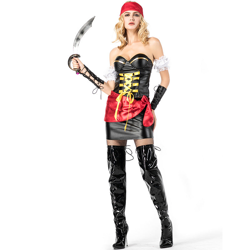 Women Sexy Tube Dress Pirate Cosplay Costume Halloween/Stage Performance/Party