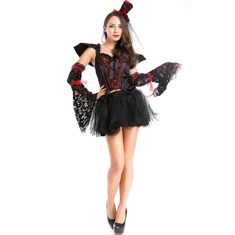 Women Sexy Vampire Black Cosplay Costume Dress For Halloween Party Performance