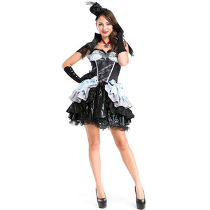 Women Sexy Vampire Black Witch Cosplay Costume Dress For Halloween Party Performance