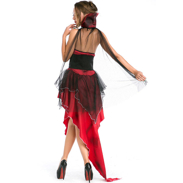Women Sexy Vampire Classic Long Red Cosplay Costume Dress For Halloween Party Performance