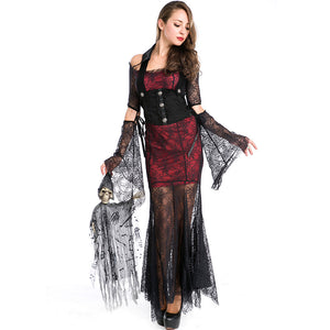 Women Sexy Vampire Mesh Cosplay Costume Dress For Halloween Party Performance