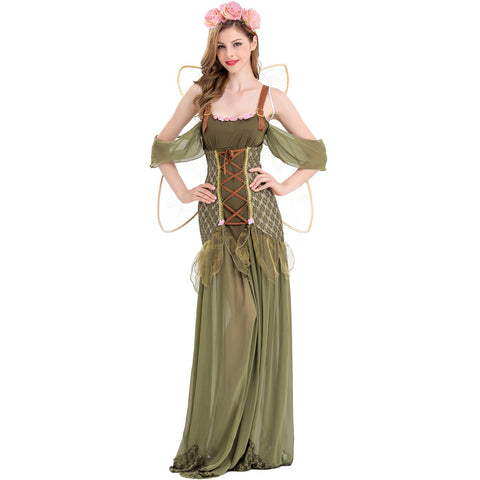 Woodland Fairy Cosplay Costume Long Dress With Wing