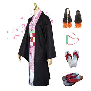 Full Set Anime Demon Slayer / Kimetsu no Yaiba Kamado Nezuko Cosplay Costume