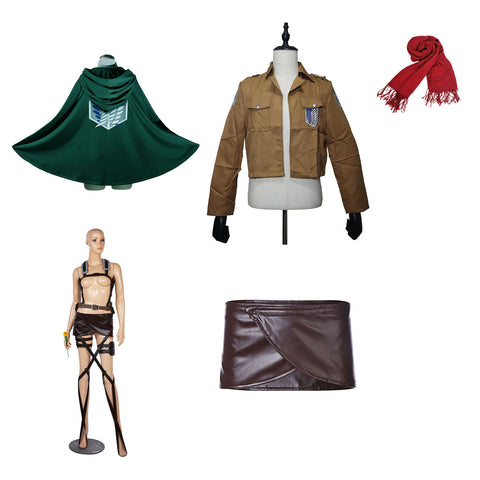Attack On Titan Deluxe Mikasa Ackerman Cosplay Costume Full Set