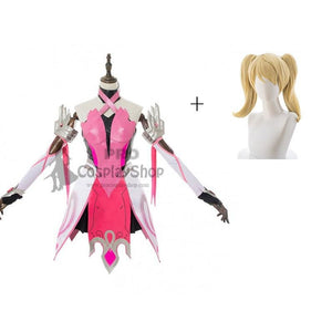 Overwatch Mercy Angela Ziegler Outfit Pink Mercy Skin Cosplay Costume With Wigs