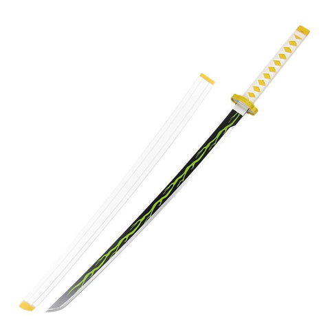 Anime Demon Slayer Zenitsu Agatsuma Cosplay Props Sword Wooden Deluxe Version