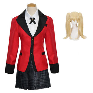 Anime Kakegurui Compulsive Gambler Meari Saotome Cosplay Costume Uniform Full Set With Wigs