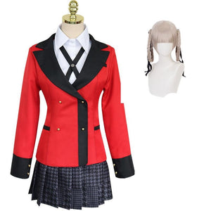 Anime Kakegurui Compulsive Gambler Kirari Momobami Cosplay Costume Uniform Full Set With Wigs