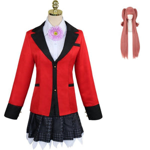 Anime Kakegurui Compulsive Gambler Yumemi Yumemite Cosplay Costume Uniform Full Set With Wigs