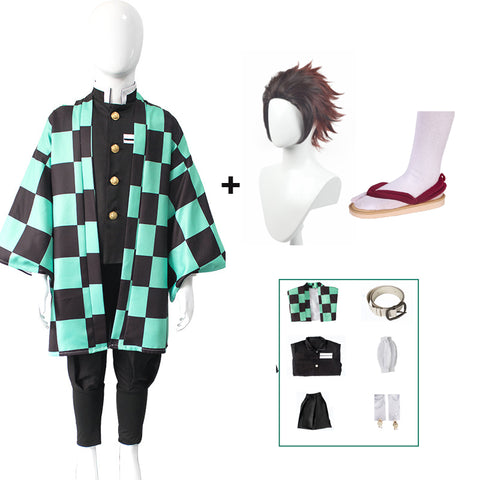 Kids Anime Demon Slayer Kamado Tanjirou Cosplay Costume Full Set With Wigs ans Shoes