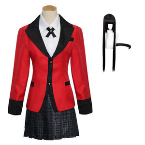 Anime Kakegurui Compulsive Gambler Yumeko Jabami Cosplay Costume Uniform Full Set With Wigs