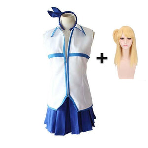 Fairy Tail Lucy Heartfilia Cosplay Costume Uniform Skirt and Tops With Wigs