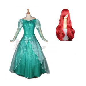 Adult Disney Little Mermaid Ariel Princess Dress Costume With Wigs For Halloween / Stage Performance / Party