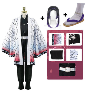 Deluxe Version Anime Demon Slayer / Kimetsu no Yaiba Kochou Shinobu Cosplay costume With Wigs Shoes