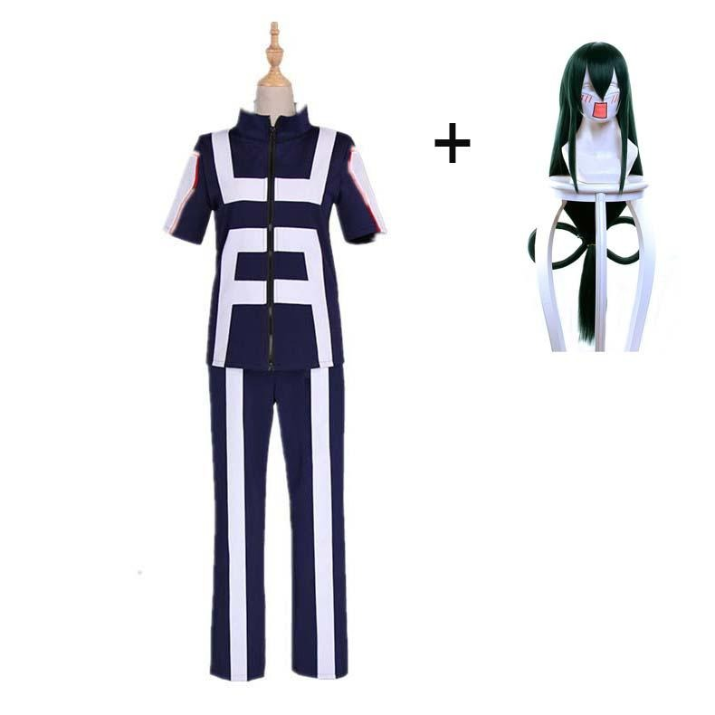 Boku No Hero / My Hero Academia Tsuyu Asui Training/Gym Suit Cosplay Costumes With Wigs Unisex