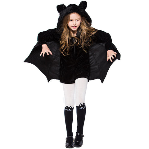 Adult Kids Girls Bat Halloween Costume Black Hooded Bat Costume