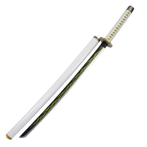Anime Demon Slayer Zenitsu Agatsuma Cosplay Props Sword Wooden