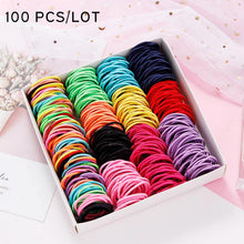 Load image into Gallery viewer, New 100PCS/Lot Girls Candy Colors Nylon 3CM Rubber Bands Children Safe Elastic Hair Bands Ponytail Holder Kids Hair Accessories