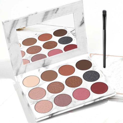 1 Box of 12 Color Marble Eyeshadow Palette and Eye Brush