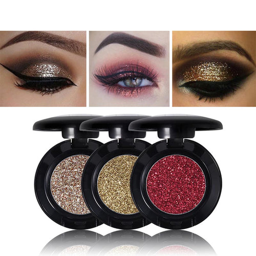 3 Pcs Diamond Glitter Eyeshadow 24 Colors Single Palette Illuminator Makeup Shimmer Metal Eye Shadow Shine Pigment Cosmetics
