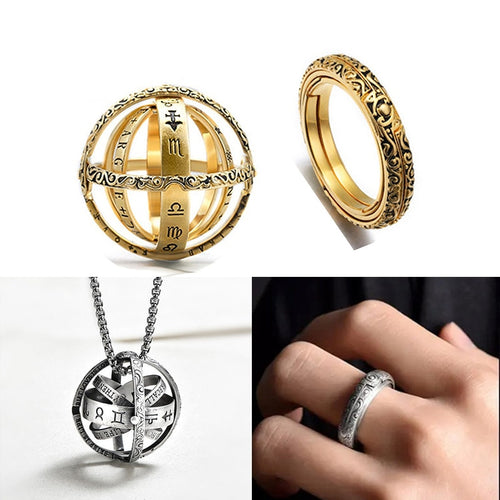 2019 Astronomical Sphere Ball Ring Open Locket Cosmic Finger Ring Couple Lover Jewelry Gifts for Women Men Accessories - AandA