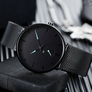 2019 New Simple Design Waterproof Small Dial Men Watches Quartz relogio masculino Stainless Steel Mesh