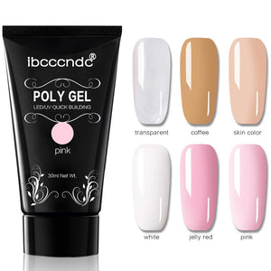 30g Polygel Nail Acrylic Poly Gel Pink White Clear Crystal UV LED Builder Gel Tips Enhancement Slip Solution Quick Extension Gel