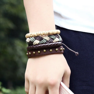 DIY Retro Woven Handmade Leather Bracelet