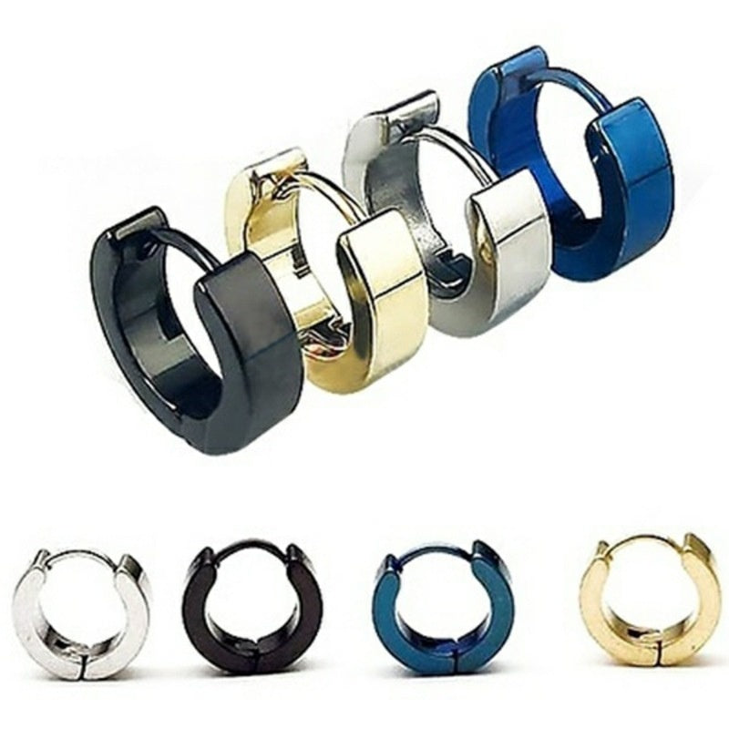 1 Pair Men's/Women's Punk Stainless Steel Hoop Earrings