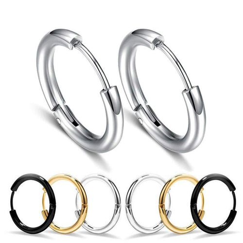 1 Pair Men's/Women's Titanium Stainless Steel Hoop Earrings
