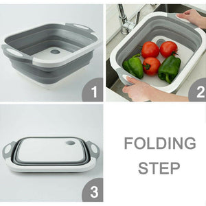 Foldable Chopping Blocks Silicone Cutting Boards Kitchen Washable Camping Kitchen Organizer Basket