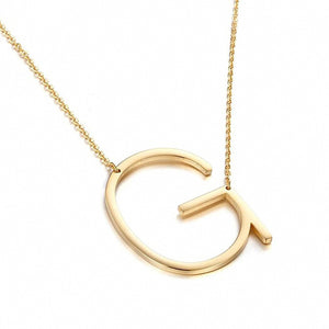 Minimalist 26 A-Z Letter Name Initial Necklaces For Women Long Big Letter Pendant Necklace