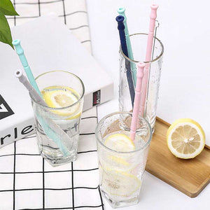 2019 New Collapsible Silicone Straw Reusable Folding Drinking Straw with Carrying Case and Cleaning Brush for Travel, Home, Office Drinks