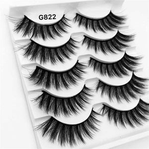 5 Pairs/Box 3D Mink Eyelashes Natural Long Eyelash Extension Lashes Makeup