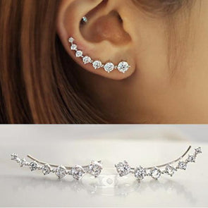 Hot Fashion 925 Sterling Silver Round Cut Stud Earrings