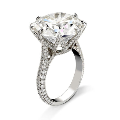 9 CT. T.W. Round Cut Lab-Created White Sapphire Engagement Ring in 925 Sterling Silver