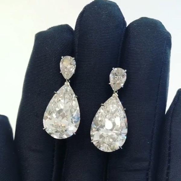 Elegant 4.8 CT Pear Cut Lab-created Diamond Drop Earrings