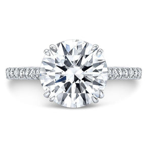 4.1 CT.T.W Round Cut Lab-Created White Sapphire with Paved Diamonds Classic Style Engagement Ring