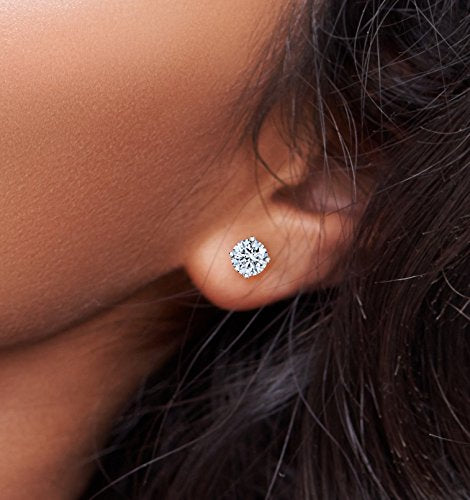 Fashion Round Cut Sterling Silver Stud Earrings