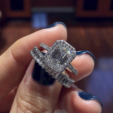 4.5CT.T.W Emerald Cut Lab-Created White Sapphire Halo Wedding Set in Sterling Silver